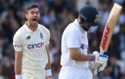 James Anderson celebrates taking the wicket of Virat Kohli. (Photo by Michael Steele/Michael Steele/Getty Images)