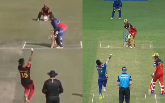 Jasprit Bumrah's bowling action being imitated. (Photo Source: Twitter and Disney + Hotstar)
