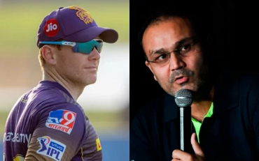 Eoin Morgan and Virender Sehwag. (Photo Source: IPL/BCCI and Getty Images)