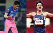 Kartik Tyagi and Neeraj Chopra. (Photo Source: IPL/BCCI and Twitter)
