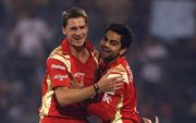 Dale Steyn and Virat Kohli during their RCB days in the IPL. (Photo by Cameron Spencer – GCV/GCV via Getty Images)