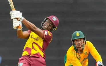 Evin Lewis of West Indies hits. (Photo by RANDY BROOKS/AFP via Getty Images)