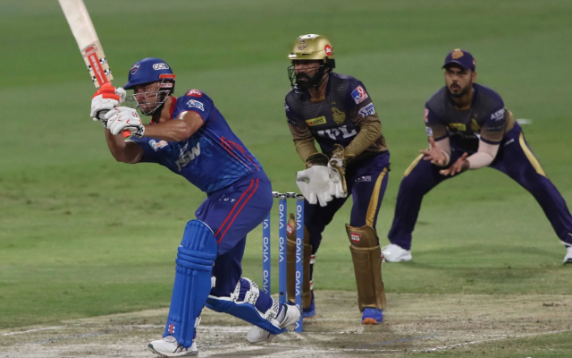 Marcus Stoinis against KKR in Qualifier 2 of IPL 2021. (Photo via IPL/BCCI)