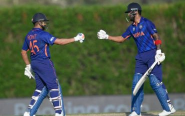 KL Rahul and Rohit Sharma. (Photo by AAMIR QURESHI/AFP via Getty Images)
